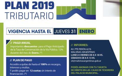 PLAN TRIBUTARIO EN MALVINAS ARGENTINAS CON VIGENCIA HASTA EL 31 DE ENERO