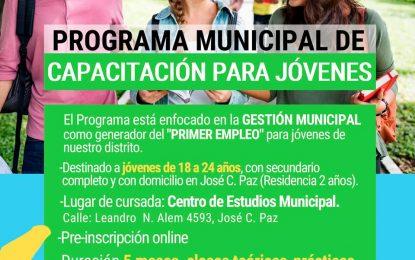 PROGRAMA MUNICIPAL DE CAPACITACIÓN GENERADOR DE PRIMER EMPLEO PARA JÓVENES EN JOSÉ C. PAZ
