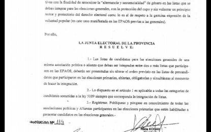 RESOLUCIÓN DE JUNTA ELECTORAL VIOLENTA LA LEY DE CUPO FEMENINO