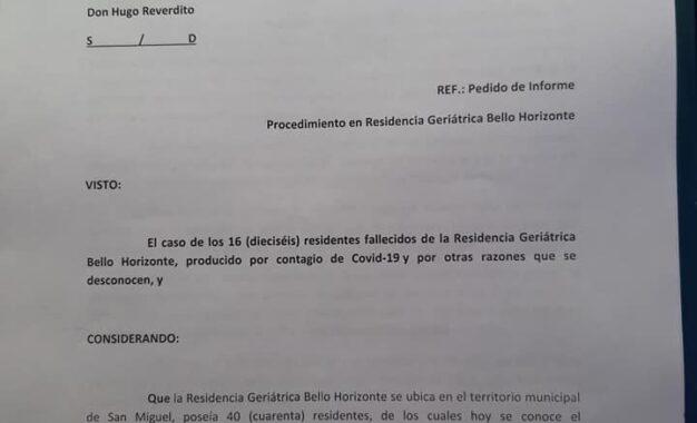 BLOQUE DE CONCEJALES DEL FRENTE DE TODOS DE SAN MIGUEL INTERPELA AUTORIDADES POR EL DECESO DE 16 ADULTOS MAYORES