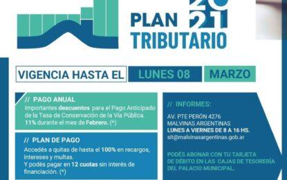 SE EXTIENDE EL PLAN TRIBUTARIO 2021 EN MALVINAS ARGENTINAS CON GRANDES DESCUENTOS